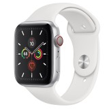 Apple Watch Series 5 GPS + Cellular 44mm Silver Aluminum Case with Sport Band - White