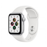 Apple Watch SE GPS 40mm Silver Aluminum Case with Sport Band - White