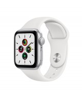 Apple Watch SE GPS 44mm Silver Aluminium Case with Sport Band - White