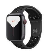 Apple Watch Nike Series 5 GPS + Cellular 44mm Silver Aluminum Case with Sport Band - Platinum Black