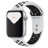 Apple Watch Nike Series 5 GPS 44mm Silver Aluminum Case with Sport Band - Black