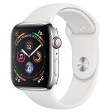 Apple Watch Series 4 GPS + Cellular 40mm Silver Aluminum Case with Sport Band - White