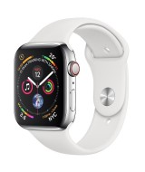 Apple Watch Series 4 GPS + Cellular 44mm Stainless Steel Case with White Sport Band