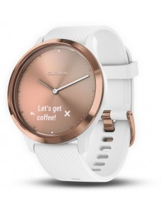 Garmin vívomove® HR Sport,  Rose Gold with White Silicone Band